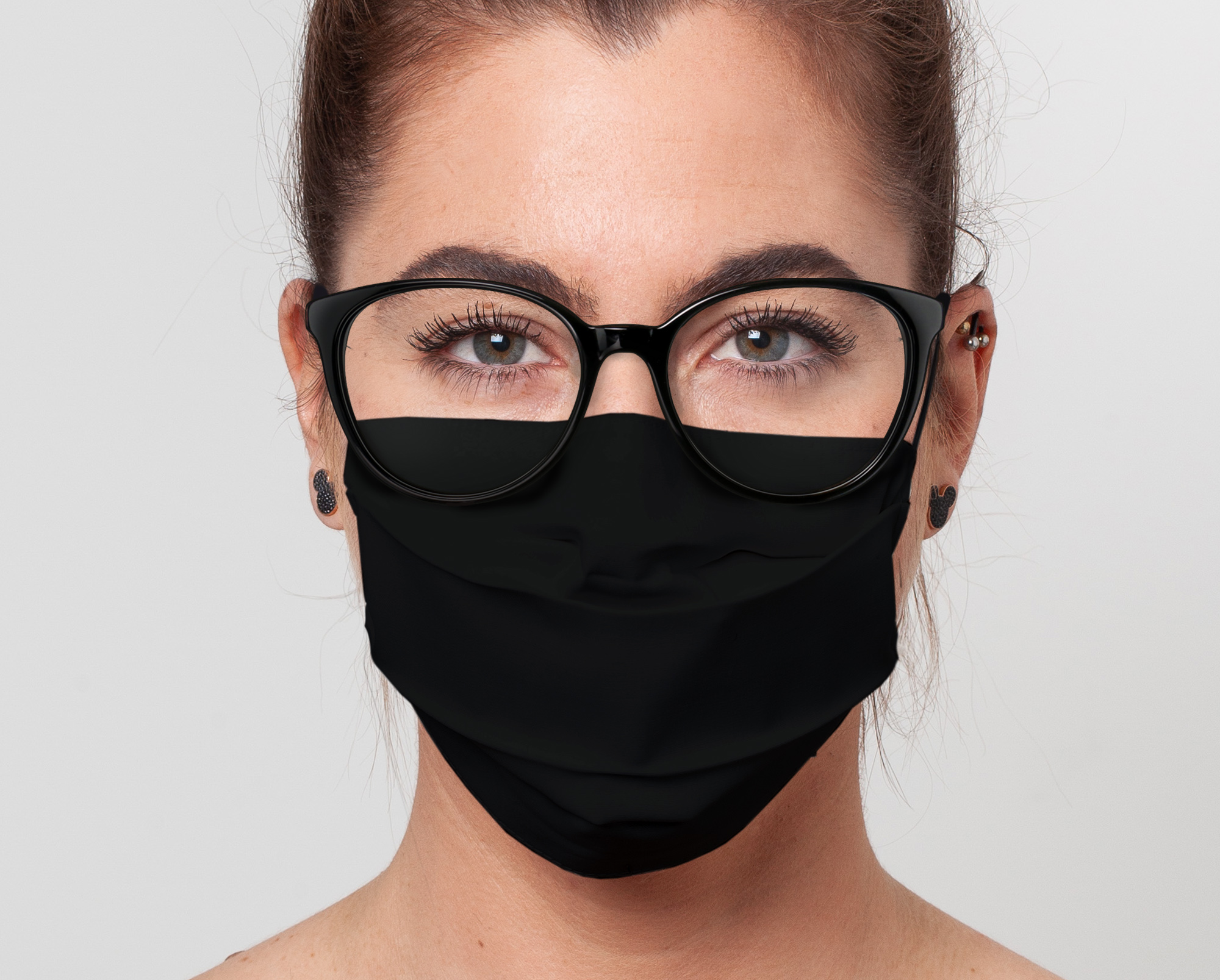 Cotton Face Mask For Glasses, Black