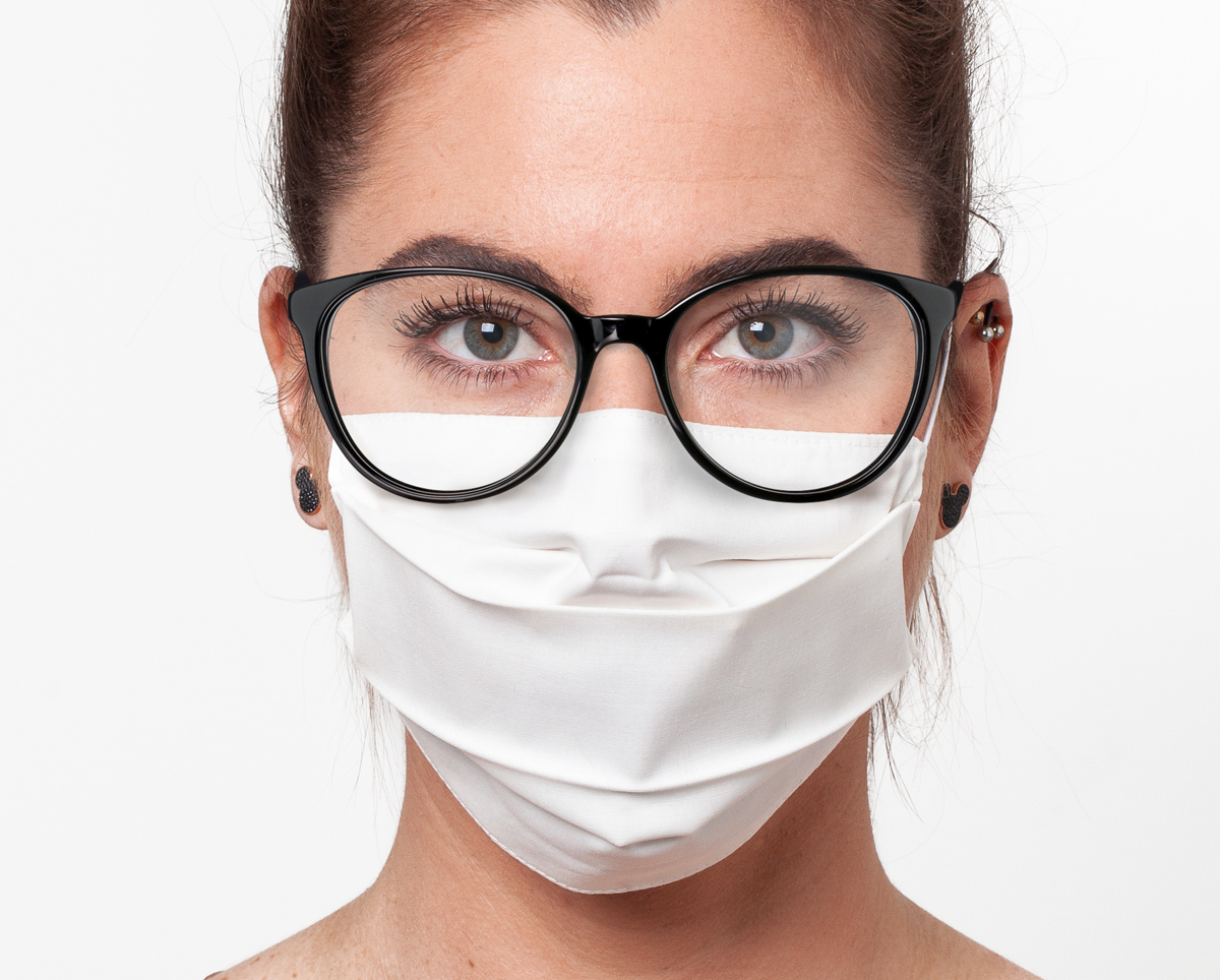 Cotton Face Mask For Glasses, White