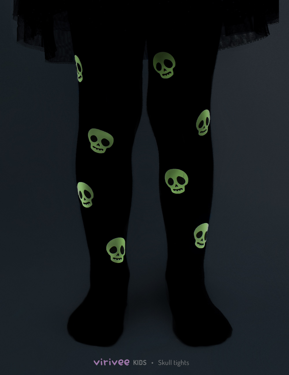 Glow in the dark skull Halloween tights for toddlers, girls, kids