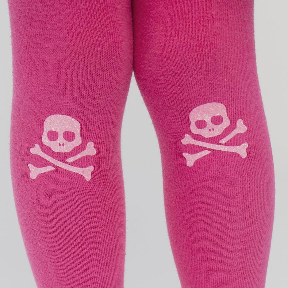 Glitter skull and crossbones tights for girls