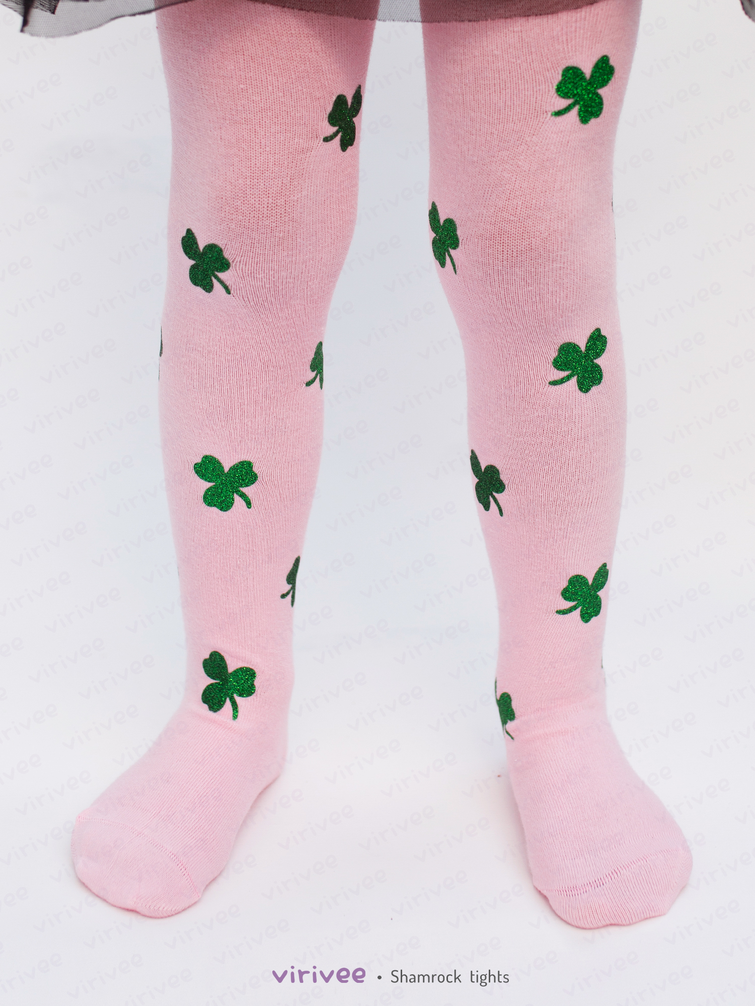 Glitter Shamrock Clover Tights In Pink