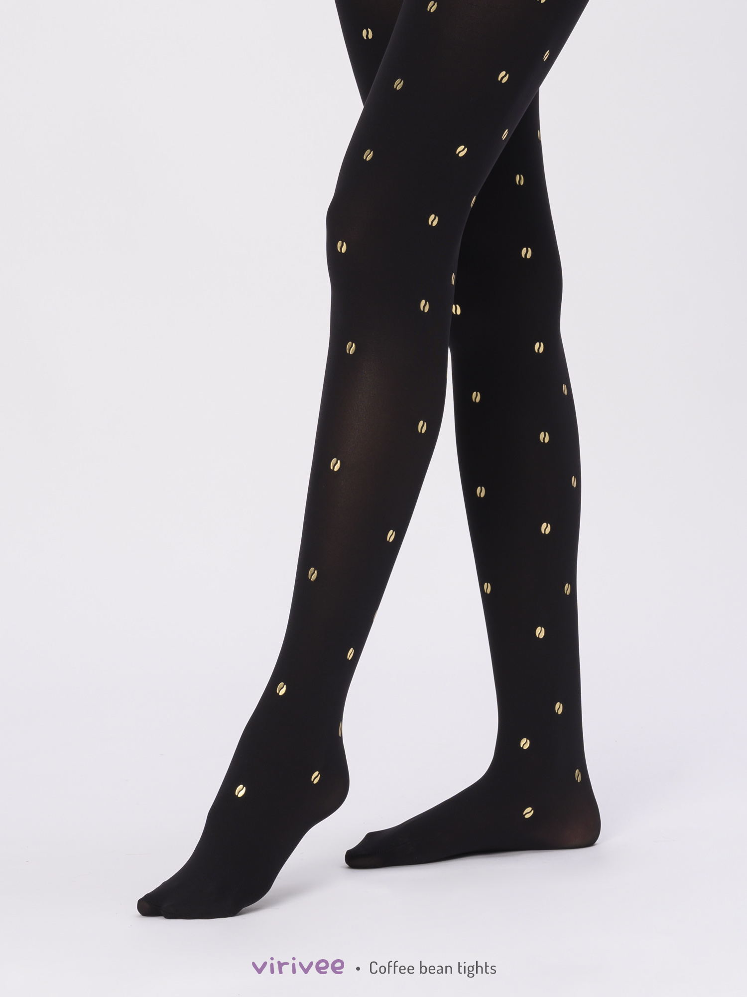 Coffee bean patterned tights, coffee lovers gift