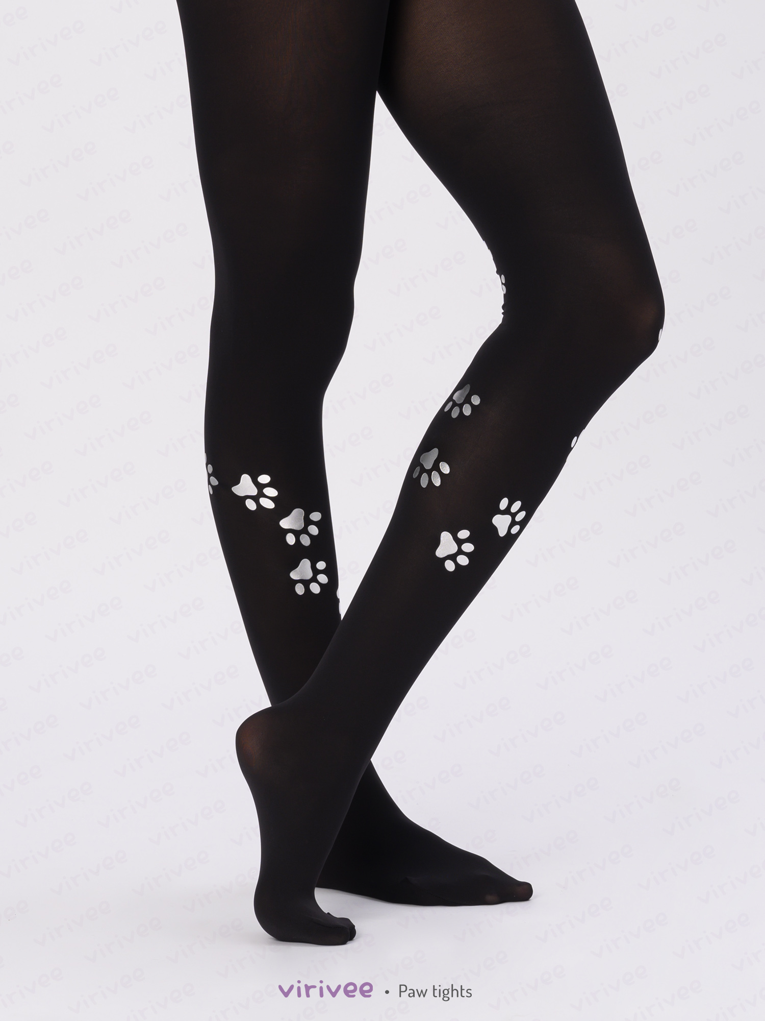 Tights with cat paw print
