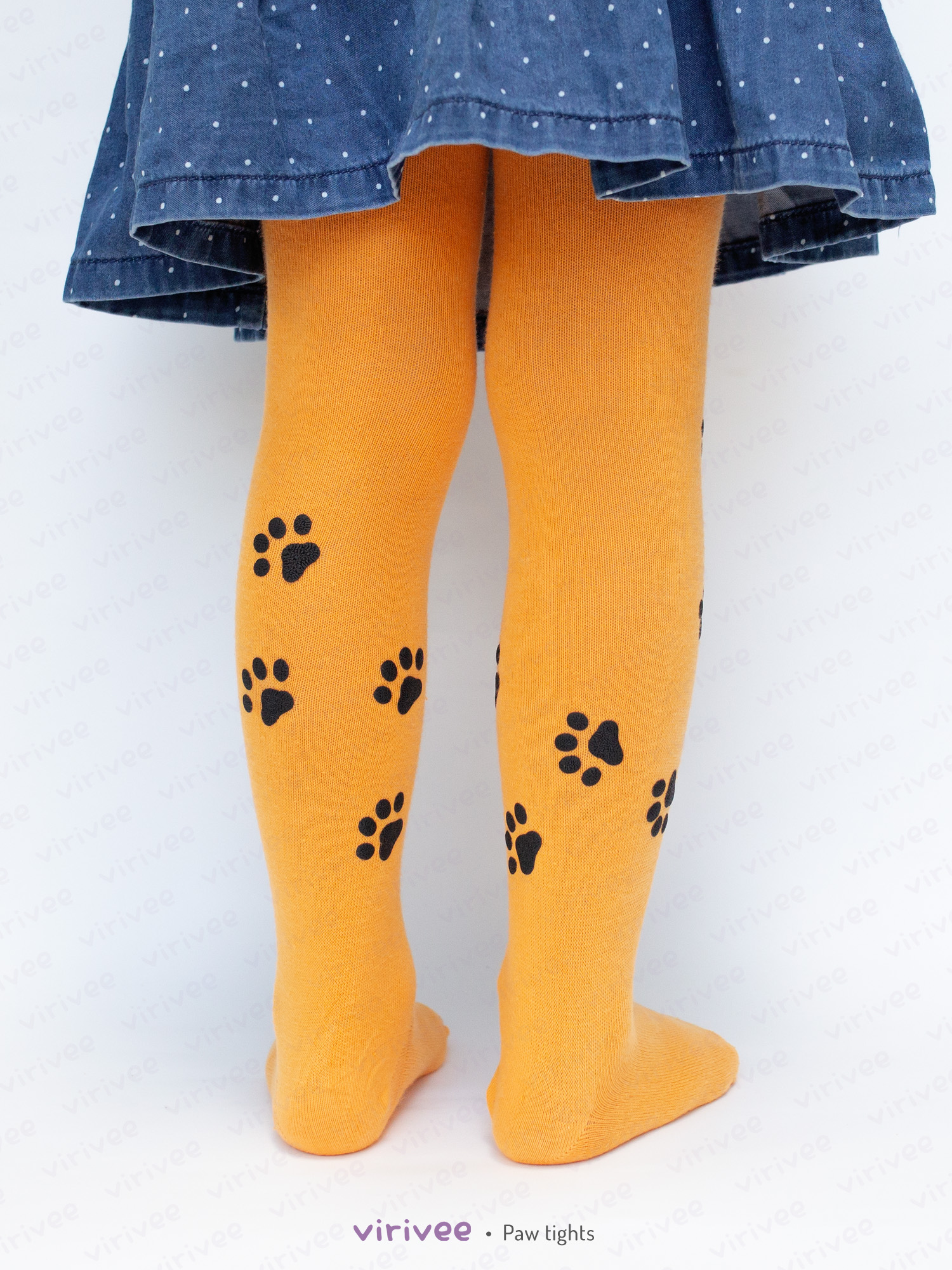 Cat Paw Footprint Tights For Girls