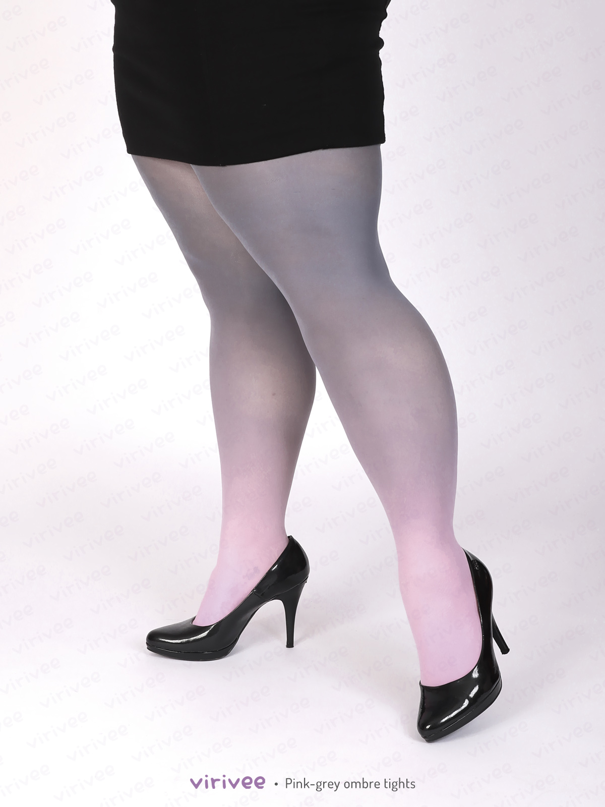 Plus size pink-grey ombre tights