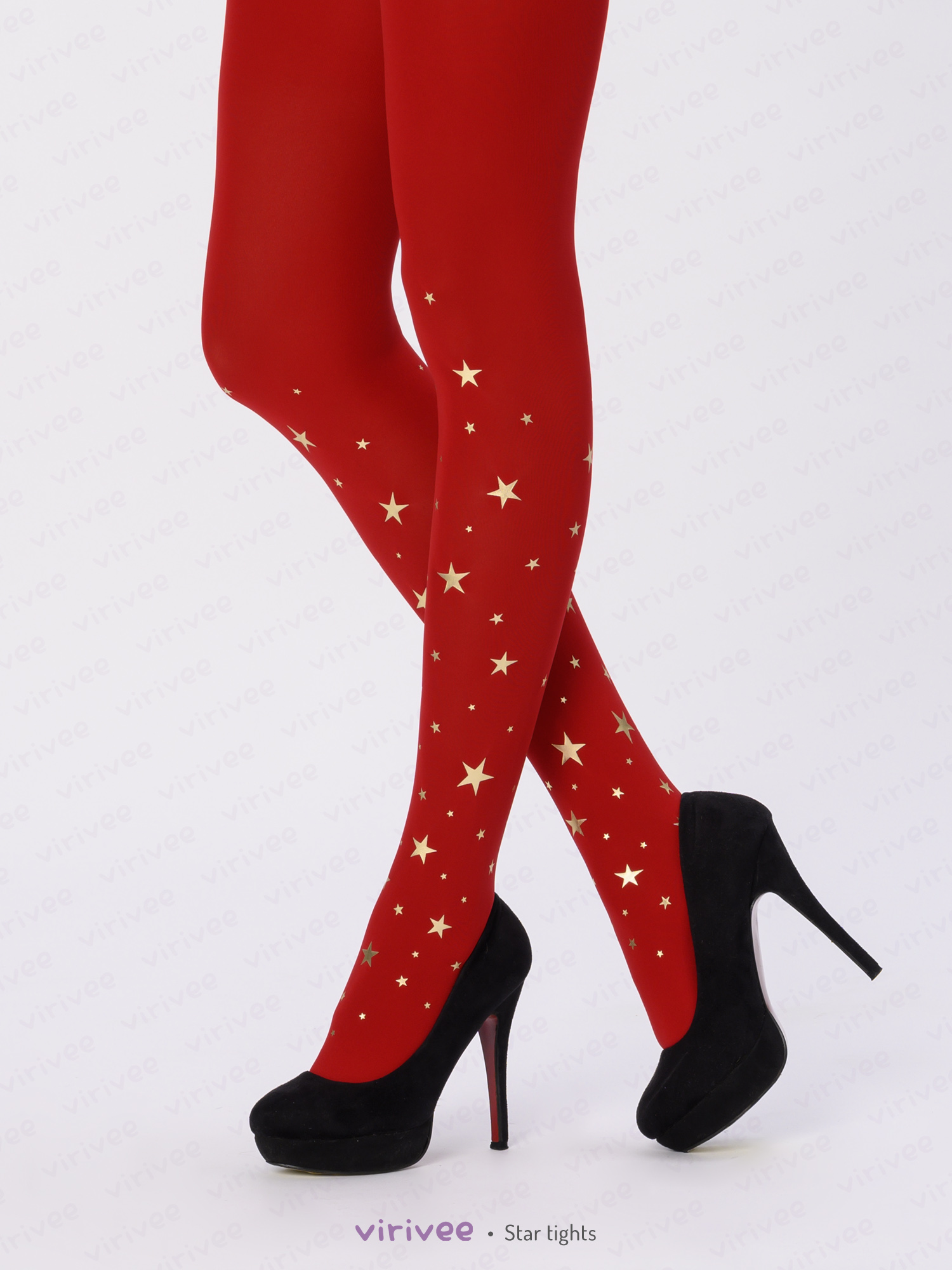 Red star Christmas tights by Virivee
