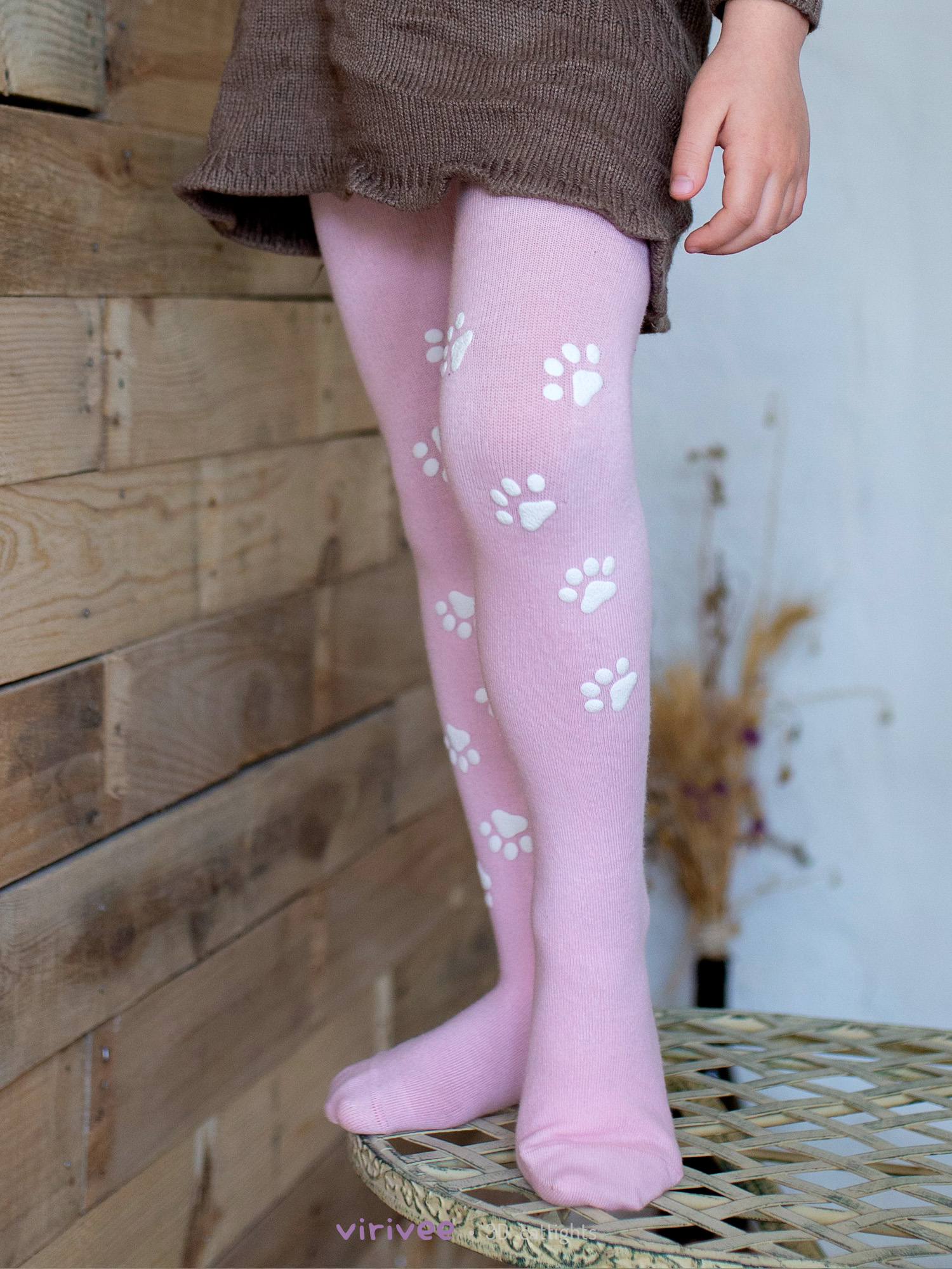 Cat Paw Footprint Tights In Pink Or Blue For Girls