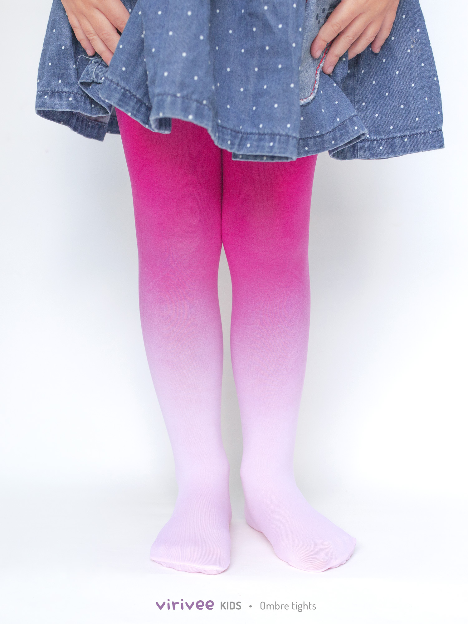 Girls Ombre Tights Pale Pink-hot Pink