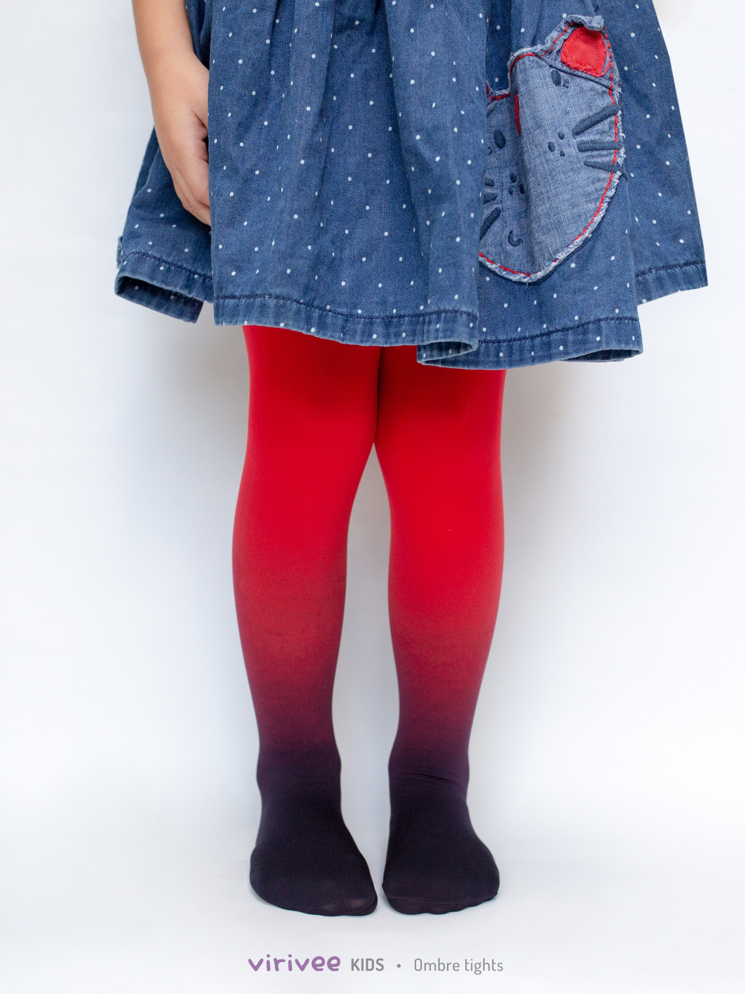 Girls Ombre Tights Black-red