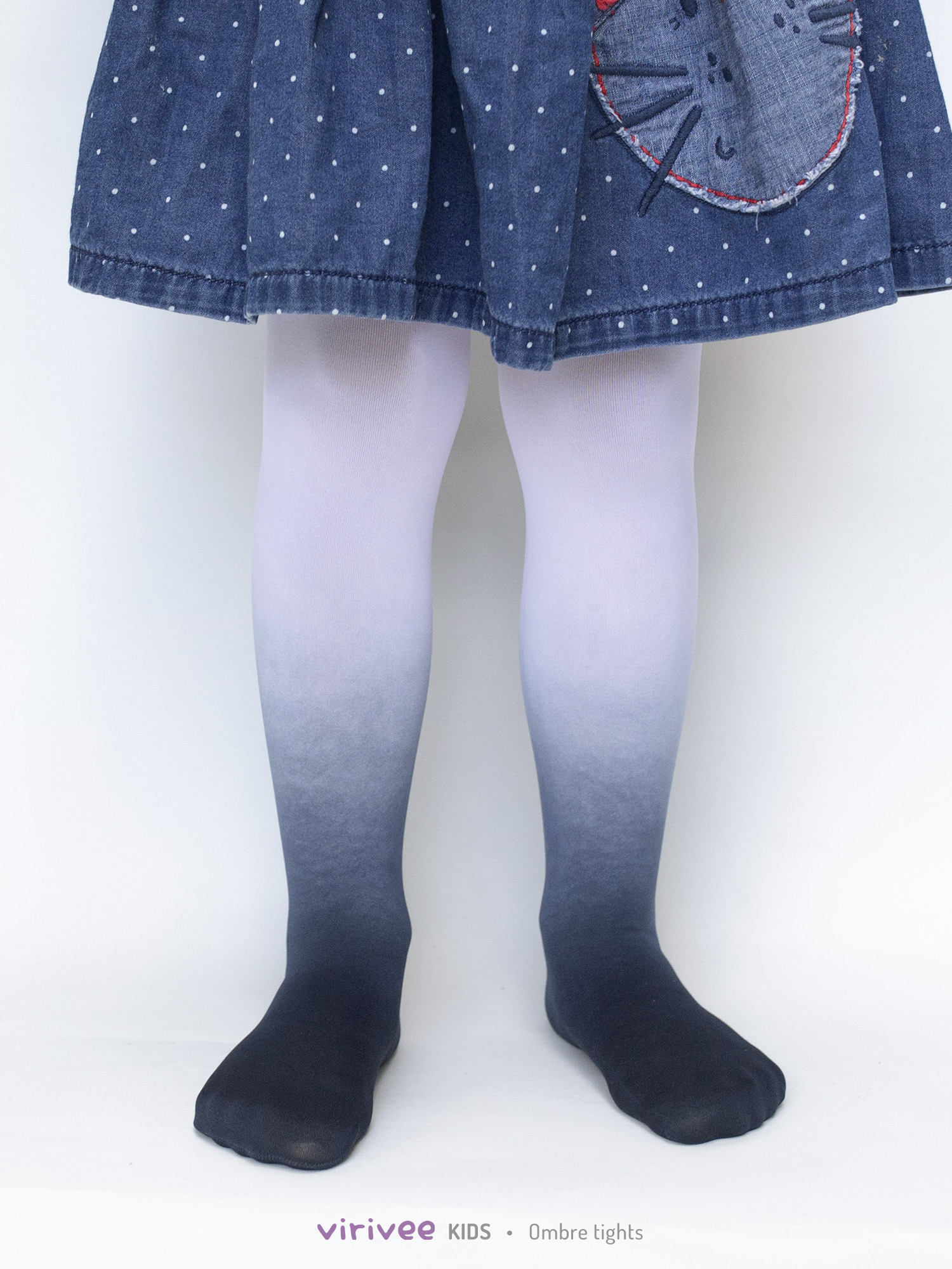 Girls Ombre Tights Black-white
