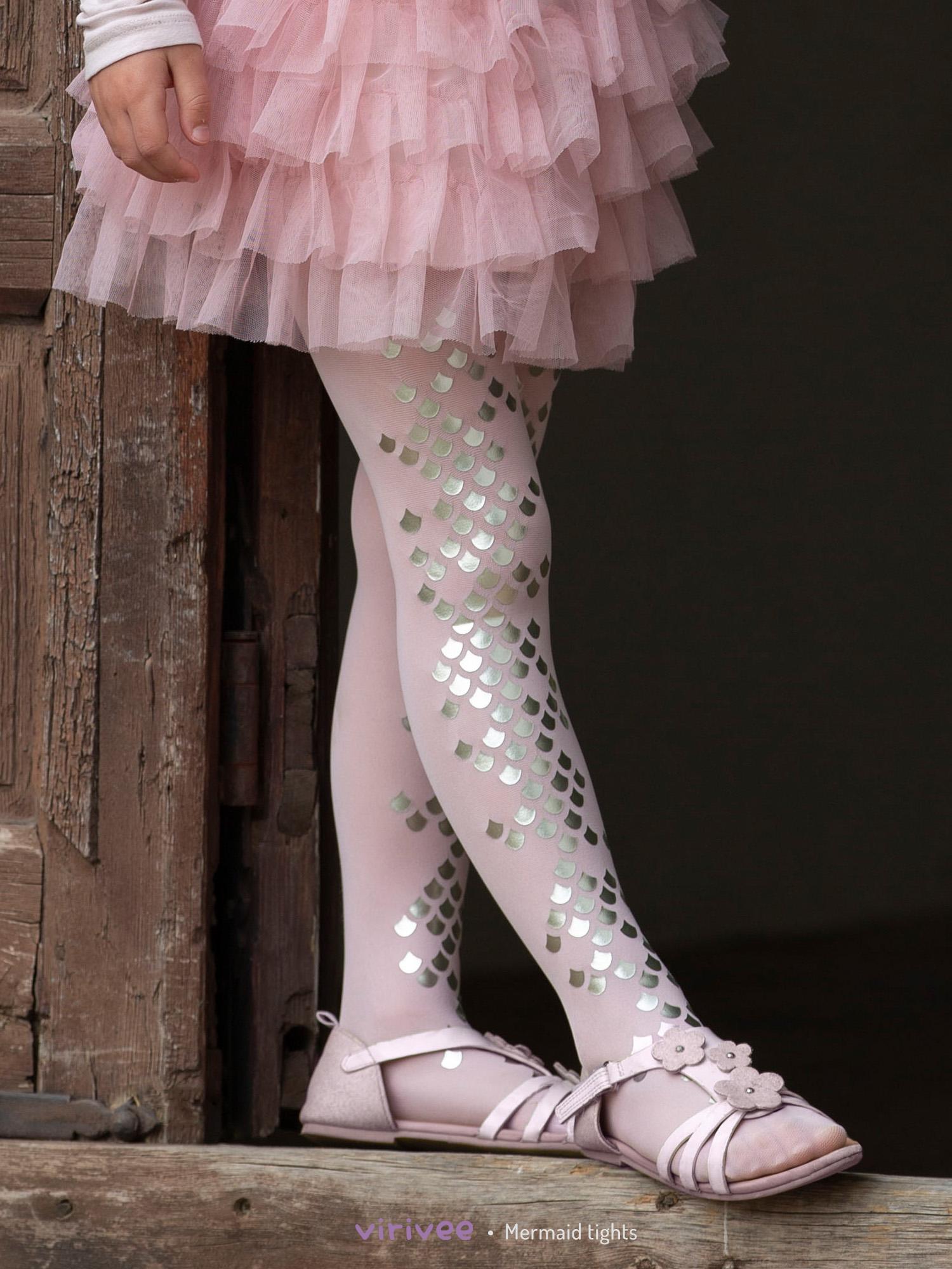 Girls Silver Mermaid Pink Tights
