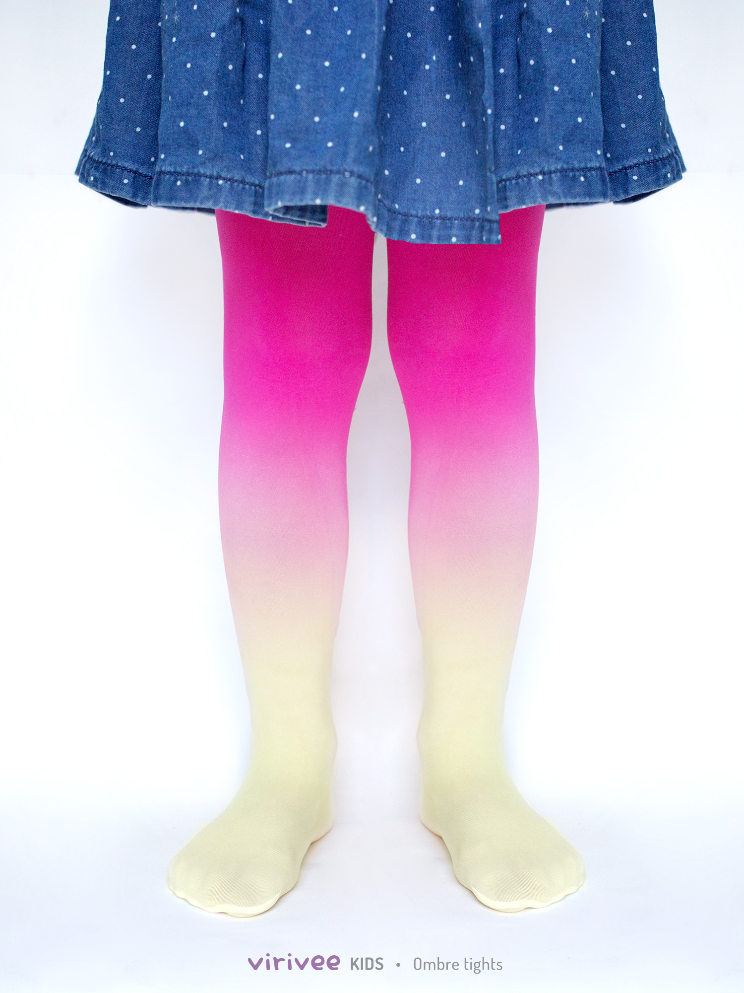 Girls Ombre Tights Yellow-magenta